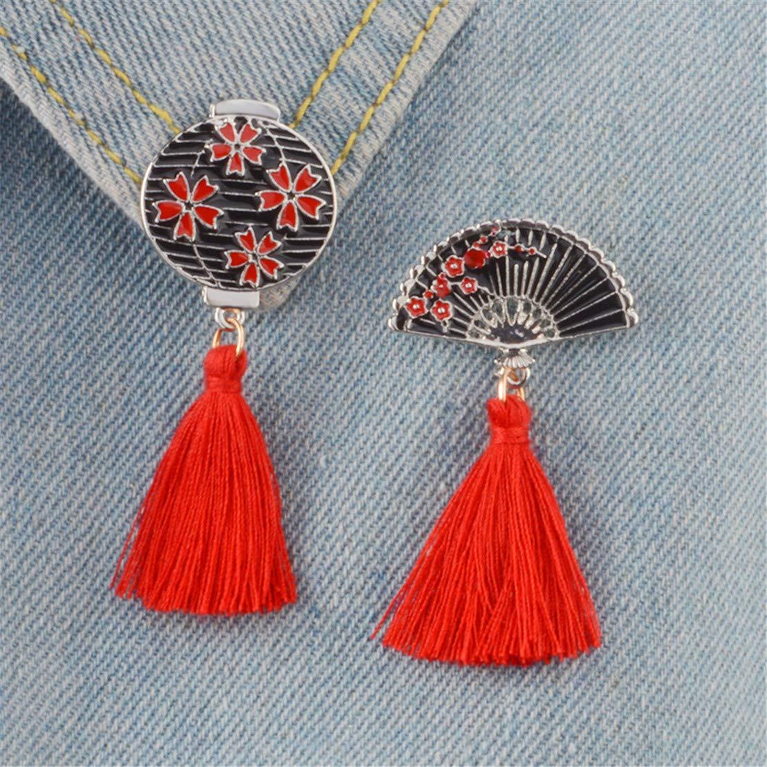 Fan Kissherely Japanische Traditionelle Sakura Kirschbl/üte Broschen Abzeichen Anstecknadeln Frauen Rucksack Kleidung Zubeh/ör