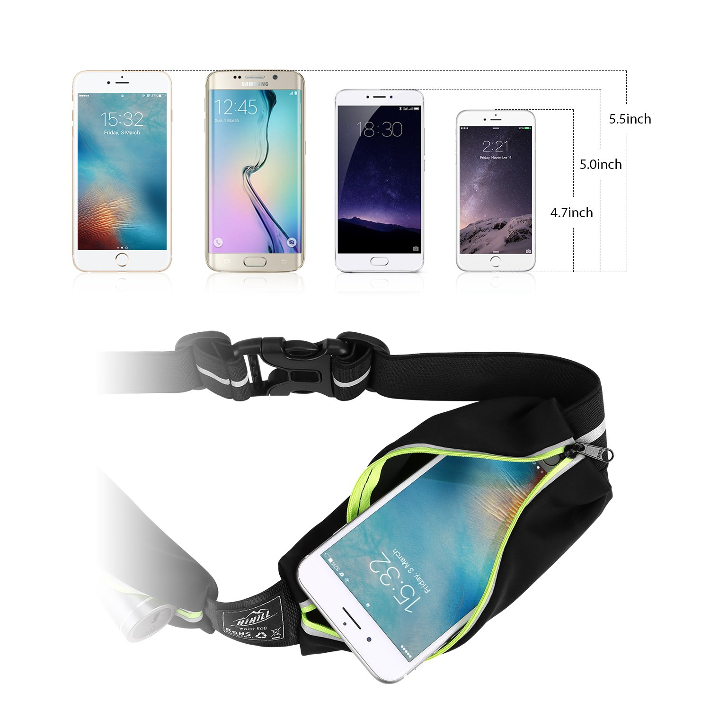 Laufgürtel für Handy, HiHill Wasserdicht Hüfttasche Sport Jogginggürtel Taille Tasche mit Reflektierendem Streifen, Verstellbar Erweiterbar für iPhone X / 8 / 8 Plus / 7 / 7 Plus