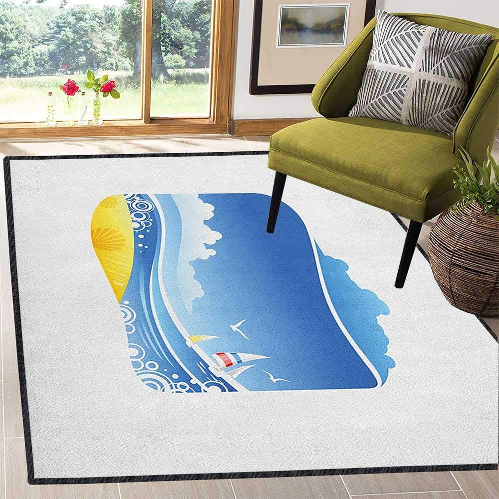 Beach Modern Area Rug with Non-Skid,Exotic Wavy Sea with Seashells Wind Boats Seagulls Open Skyline Cartoon Style Anti-Static,Water-Repellent Blue Yellow White 59''x71'' by Philip C. Williams
