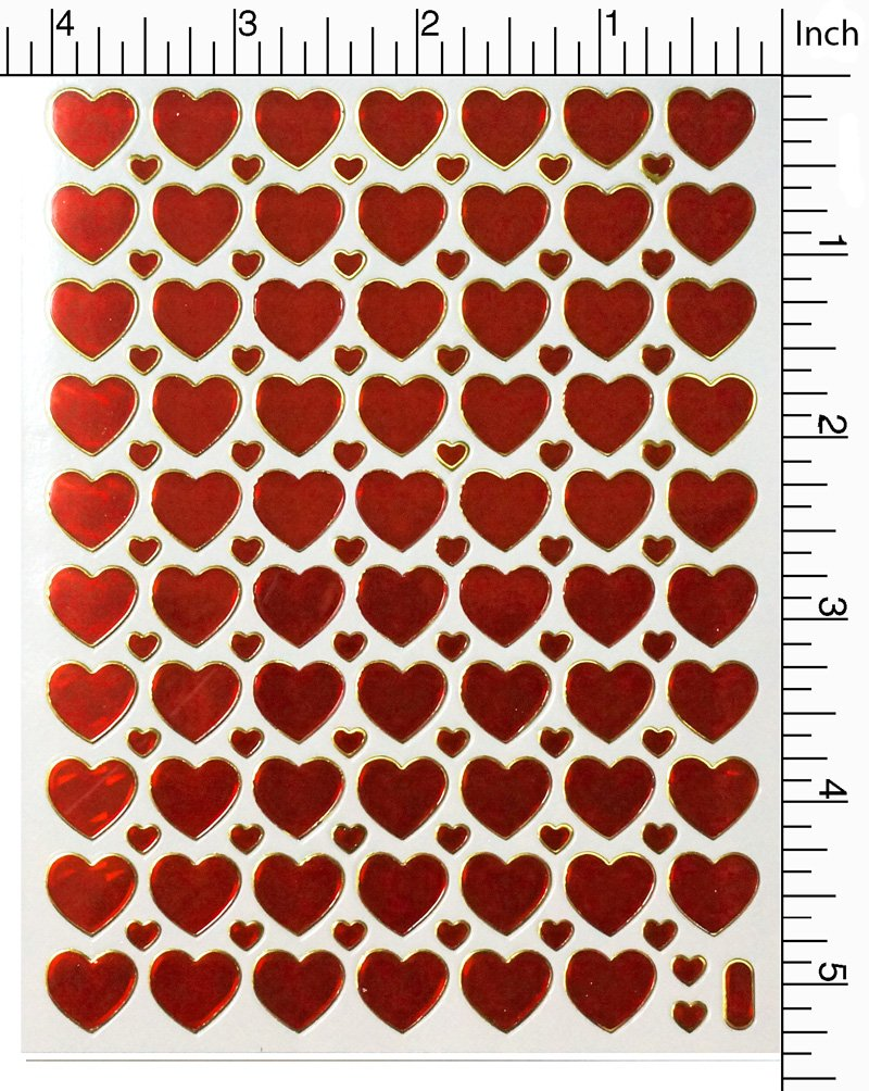 Jazzstick 10-Sheet Valentines Heart Stickers Glitter Red /& Colors Value Pack Bulk 02