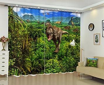 3d Fenetre Rideaux Et Draperies Dinosaures Vivant Dans La Jungle D