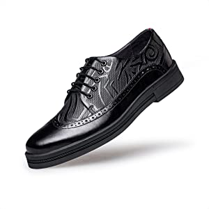 ZRO Men's Classic Lace Up Oxfords Casual Wing Tip Brogue Genuine Leather Shoes BLACK US 7