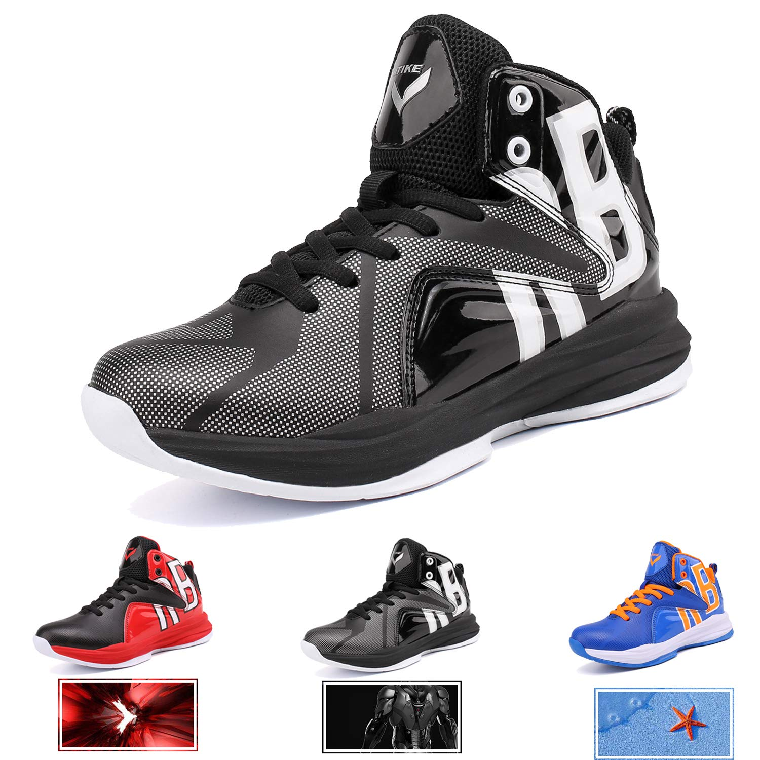 WETIKE Boys Basketball Shoes Lace Up High Top Sneaker Outdoor Trainers for Unisex Kids Durable Sport Shoes (Little Kid/Big Kid) Armor Black,1M US Little Kid