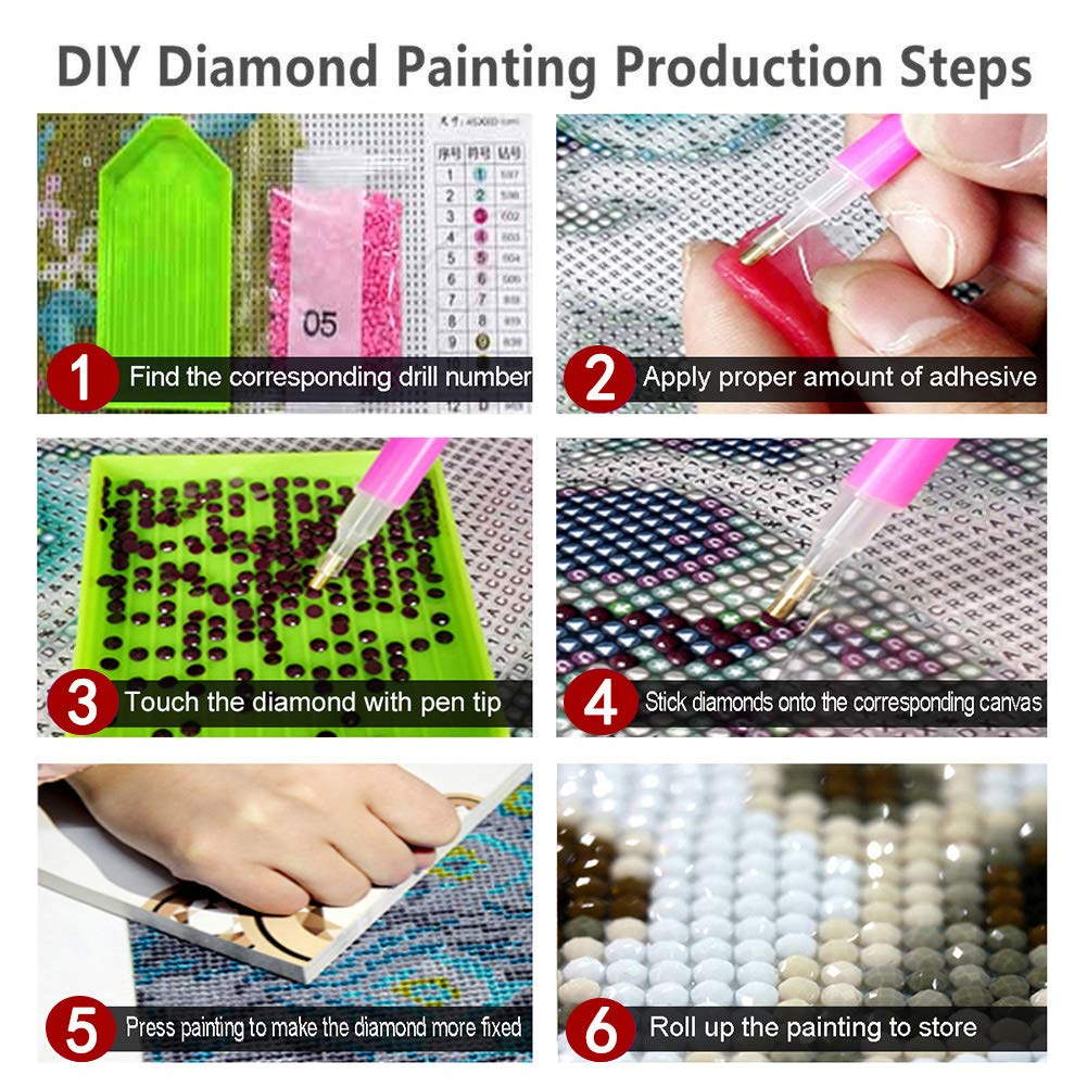 30X40cm DIY 5D Diamond Painting Kits for Adults Full Drill Embroidery Paintings Rhinestone Pasted DIY Painting Cross Stitch Arts Crafts for Home Wall Decor Lovely Huskies