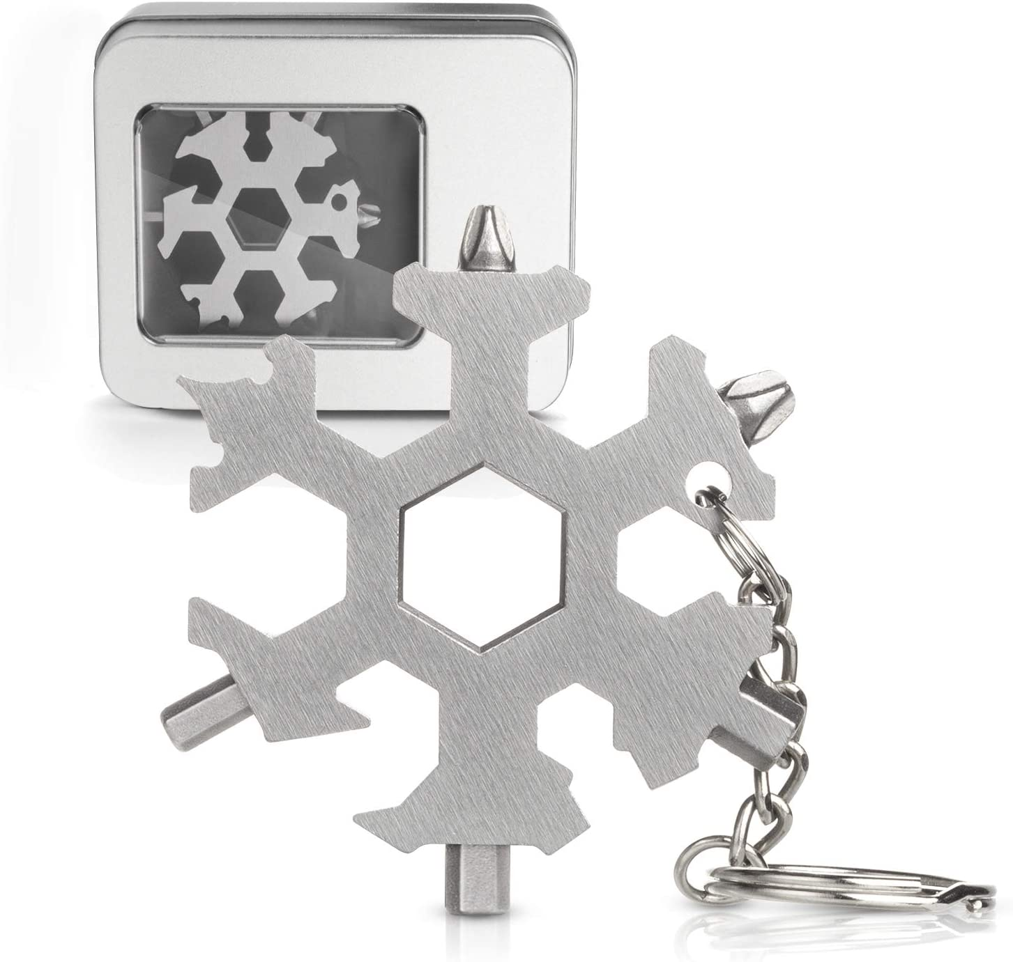 Black//3PC 18-in-1 Snowflake Multi Tool,Portable Stainless Steel Camping Snowflake Outdoor Card Screwdriver Bottle Opener Hexagonal Spanner Combination Tool for Daily Use