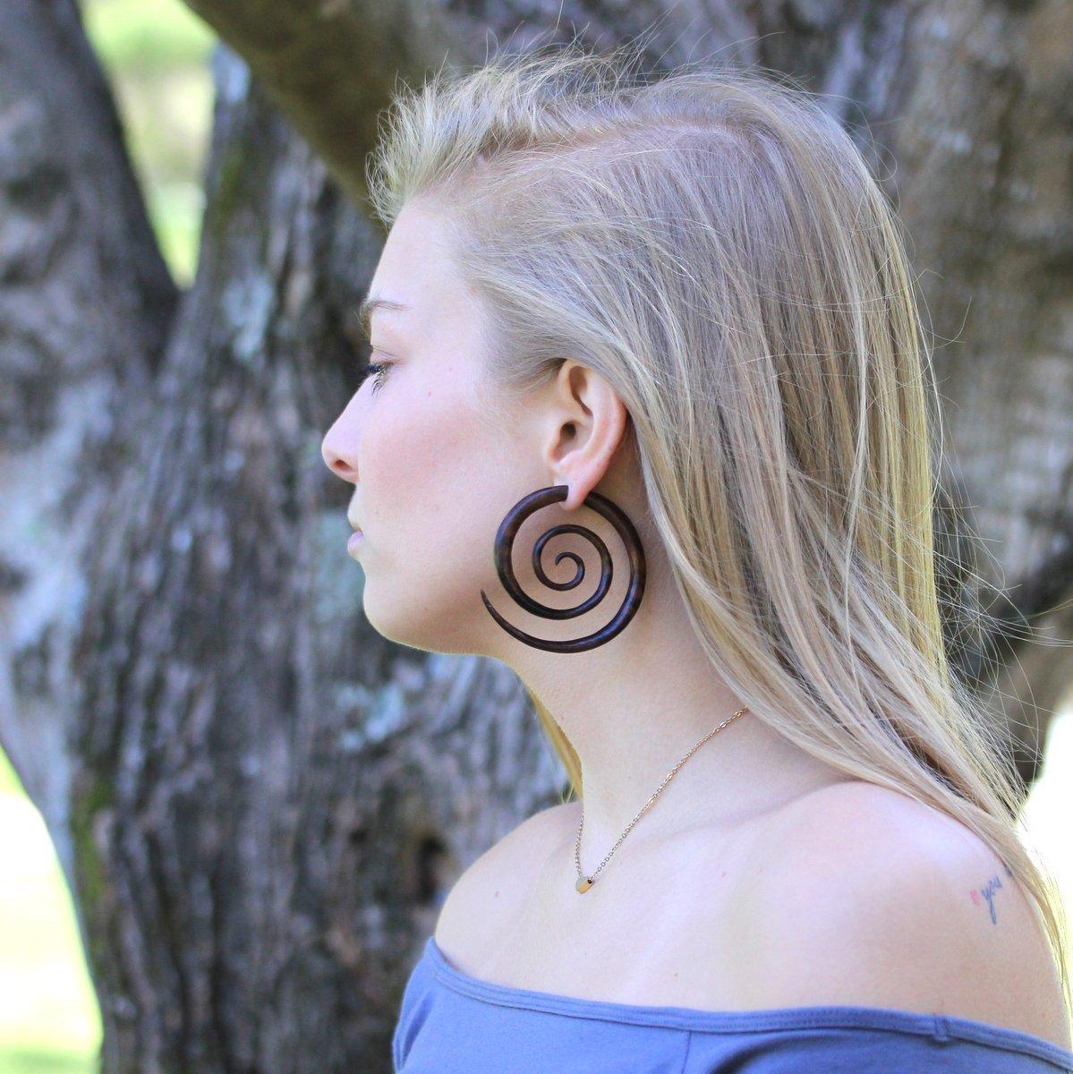Faux Gauge Hand Carved Indian Rosewood Fake Gauge Wood Spiral Earrings