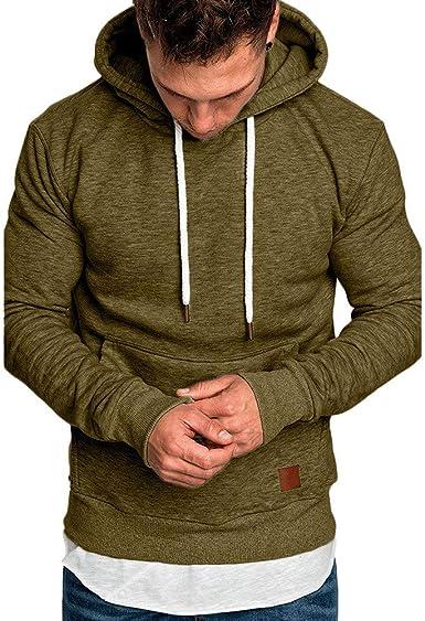 Men Hooded Pullover Hoodie Casual Hoody Long Sleeve Sweatshirt Regular Fit Hoodies with Pockets