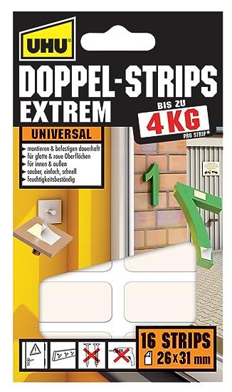 16 Pads Montagepads 45450 Uhu Montage Klebepads Extrem Strip Hält 4 Kg