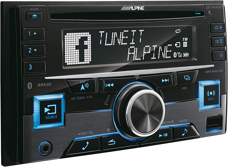 Alpine CDE-W296BT-2DIN - Radio para Coches (200 W, 105 dB, Pantalla LCD, USB, con Bluetooth, micrófono Incluido), Negro