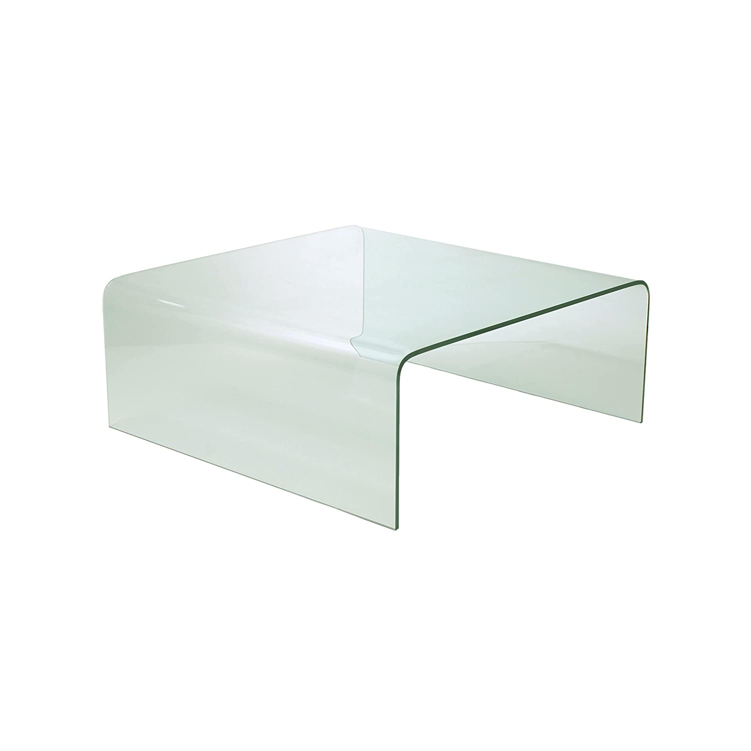 Amazon Euro Style Ginny Modern Bent Glass Square Coffee Table