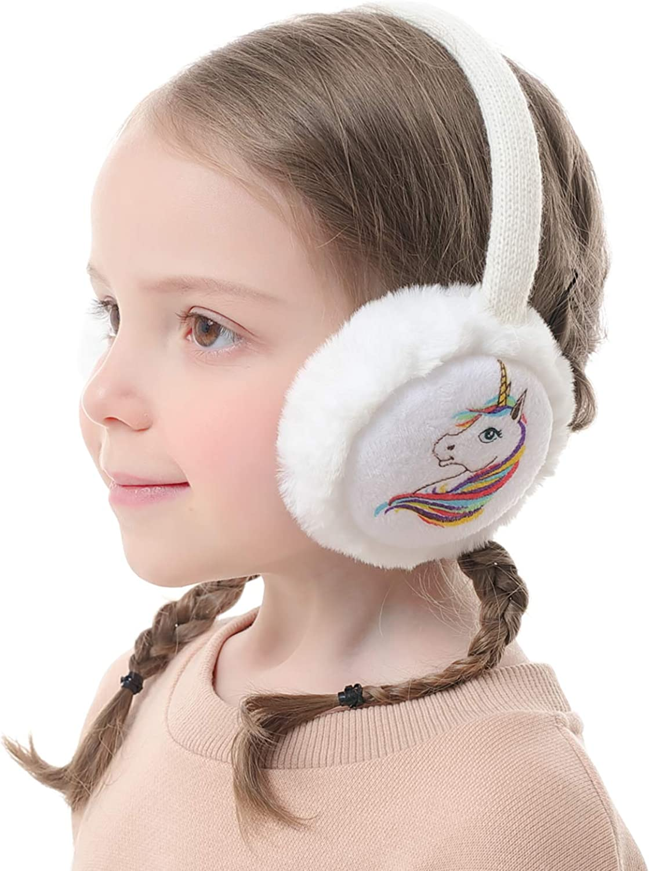 Flammi Kids Winter Ear Muffs Unicorn Warm Faux Fur Ear Warmers