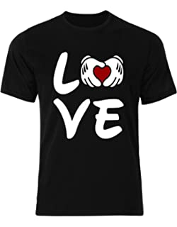 efddb7f237 OVES Love Mickey Mouse's Hands White Gloves Red Heart Disney Mens Tee Shirt  Top