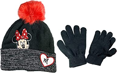 Age 2-4 Disney Minnie Mouse Girls Big Face Beanie Winter Hat and Mittens Cold Weather Set