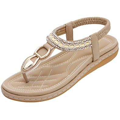 e375c40b6e0683 ZOEREA Women Sandals Flats Peep Toe T-Strap Bohemia Shoes Summer Holiday  Apricot