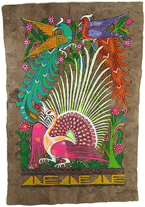 Size 24 X 16 Ready for FRAMING Blue /& Yellow Peacocks El Relicario de Los Tesoros Hand Painted AMATE BARK Paper Birds Deer Flowers from Mexico Beautiful Bright Colors Approx