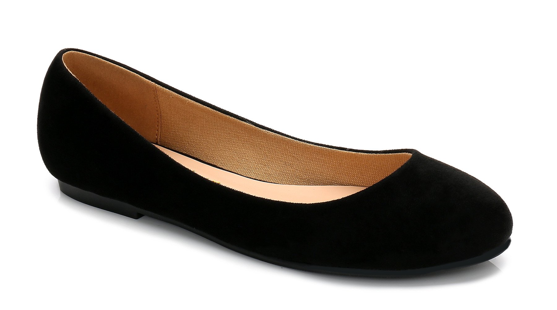 ComeShun Black Womens Shoes Comfort Slip On Casual Ballet Flats Size