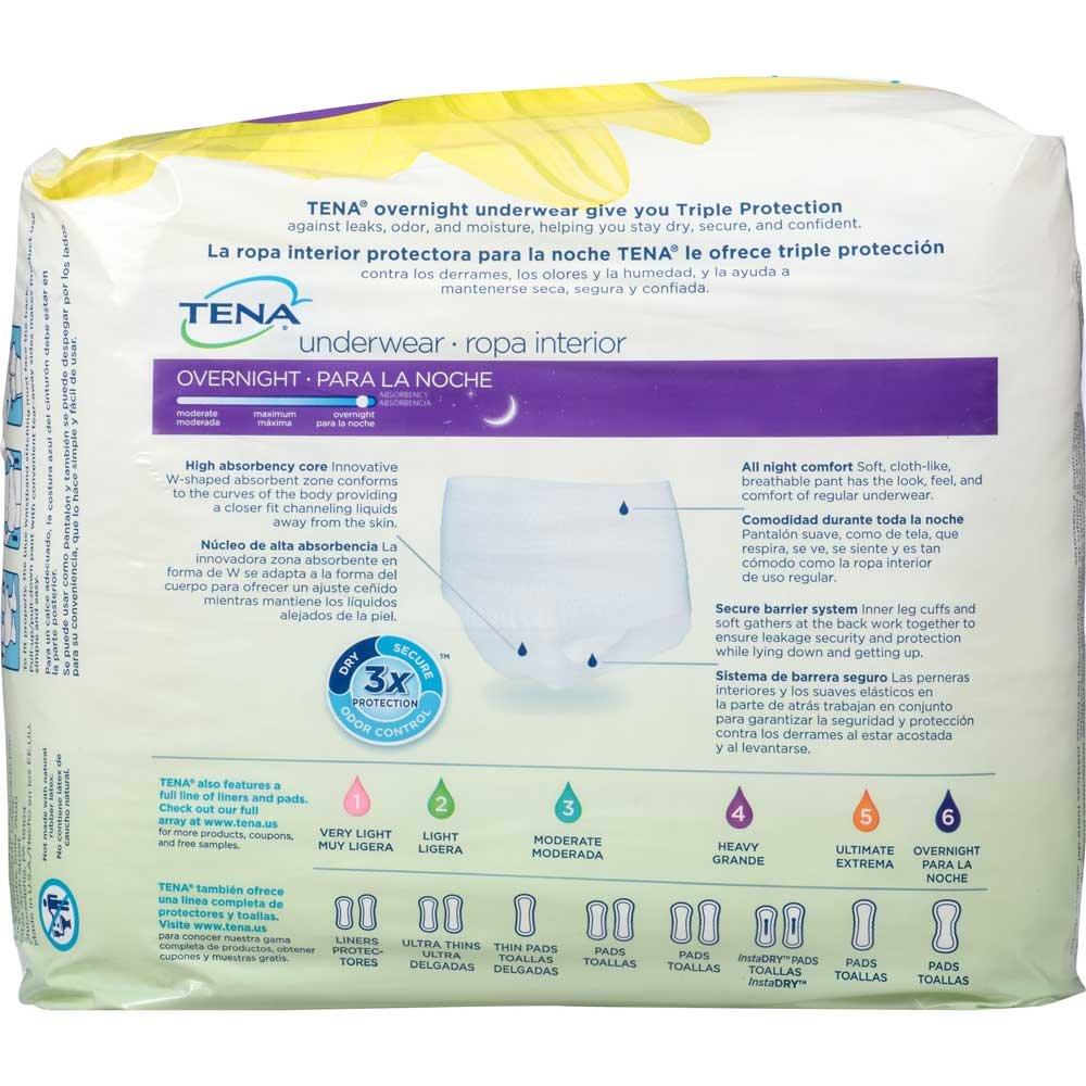 Amazon.com: Tena Overnight Underwear L 39 inch to 52 inch 14 ct Pack - 4 Packs per case.: Health & Personal Care