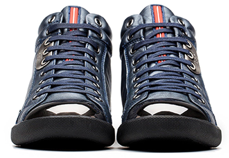 OPP Herren Rindleder Winter Mid-Top Winter Rindleder Sneaker Blau 89a140