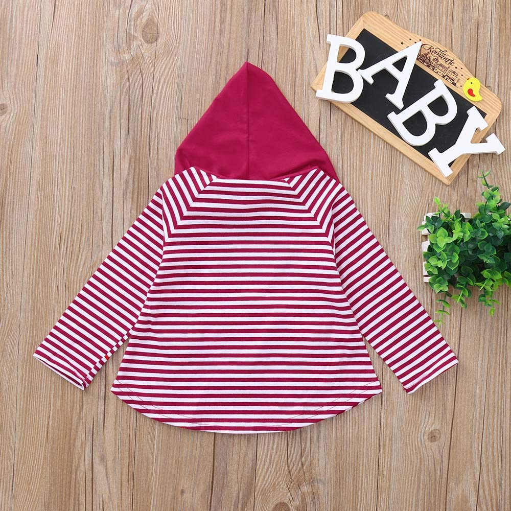 Kid Tops Outfits,Fineser Toddler Kids Baby Girls Boys Long Sleeves Stripe Pockets Ear Hooded Tops T-Shirt Clothes 2 Color