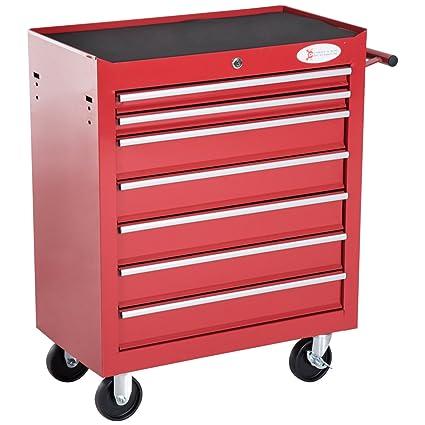 DURHAND Carro de Herramientas con 7 Cajones Caja Taller Cerradura Tipo Mueble de Almacenamiento para Taller