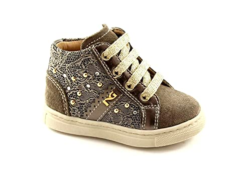 NERO GIARDINI JUNIOR 21112 marrone scarpe bambina mid sneaker zip pizzo aaddd68bfe7