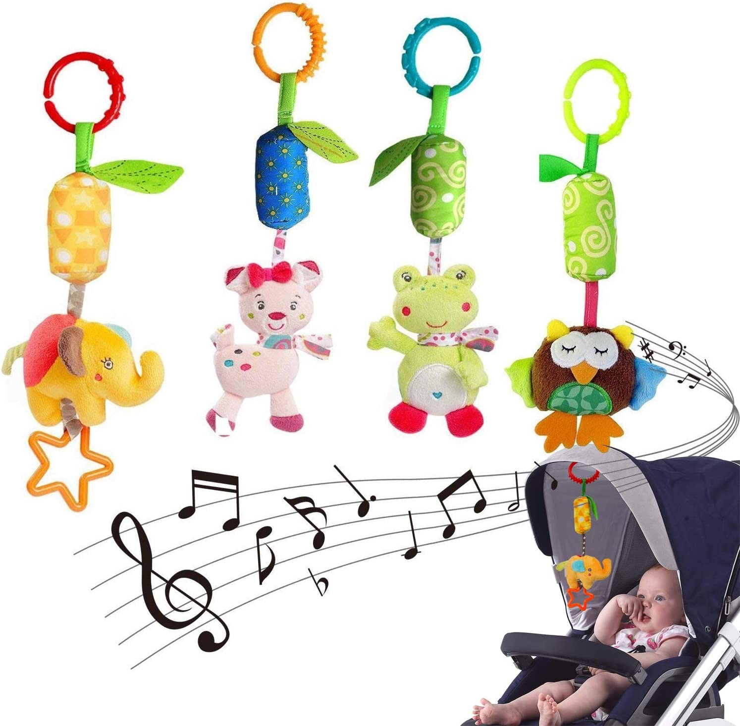 Kids Car Hanging Stroller Rattles Bell Plush Rattle Pram Toys Crib Bed T