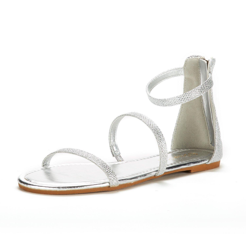 DREAM PAIRS Women's Athena_Low Gladiator Flat Sandal
