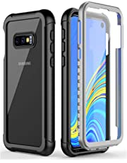 Temdan Samsung Galaxy S10E Case,Built in Screen Protector Full Body Protect Clear Bumper Support Wireless Charging, Heavy Duty Rugged Dropproof for Samsung Galaxy S10E Case 5.8 Inch 2019 (Black/Clear)