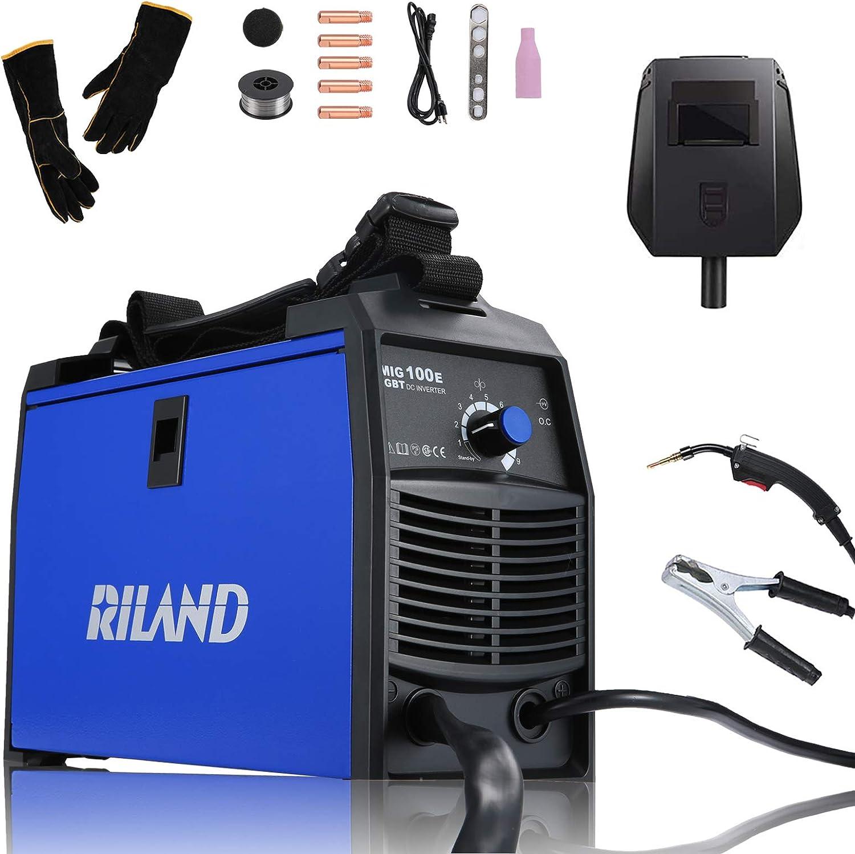 RILAND MIG Welder 110v, MIG Welding Machine, Automatic Wire Feed Welder, Flux Cored Welder with DIY Home Portable Welder Accessories 110/115/120V-MIG 100E… - -