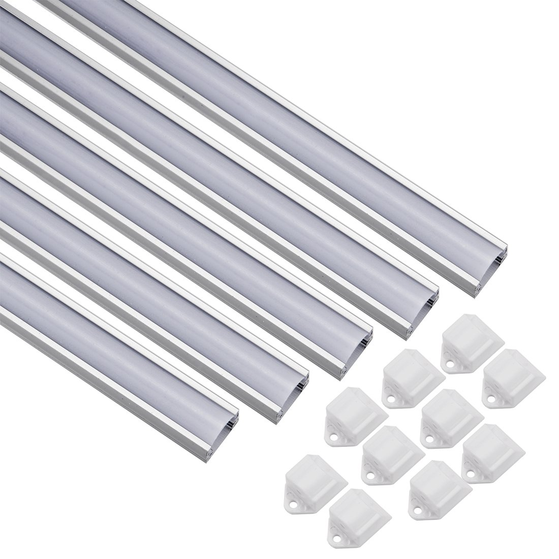 uxcell 5Pcs CN-504B 0.5m 16.5x10mm LED Aluminum Channel System w Cover for LED Strip Light Installations