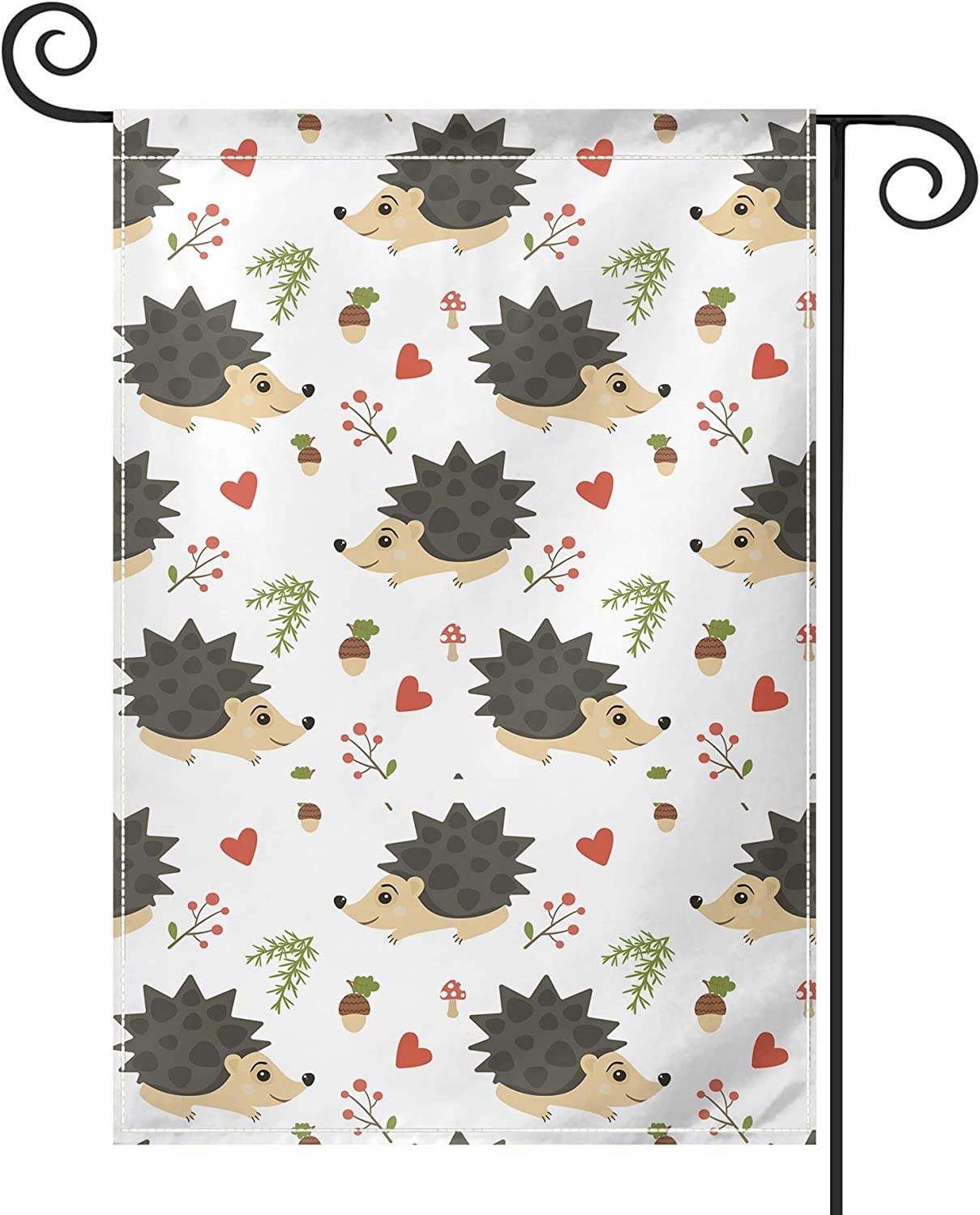 PRUNUS Hedgehog Garden Flag, Vertical Double Sided Premium Material Holiday Weather Resistant Decorative Lawn Animal House Flags Outdoor Decor 28W by 40H Inch Black