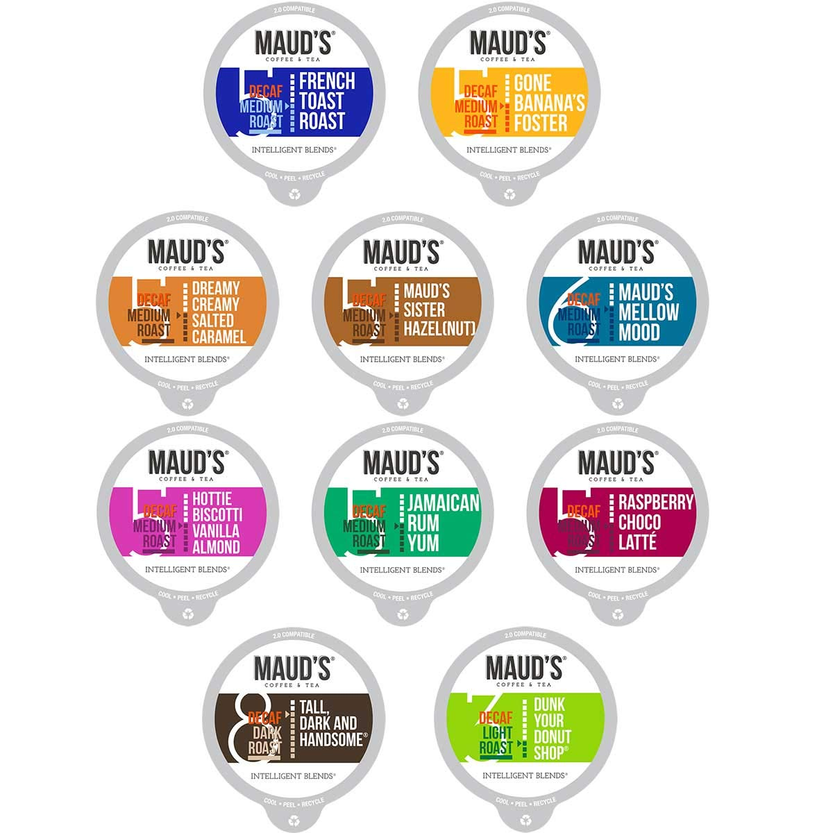 Maud's Decaf Coffee Variety Pack, 80ct. Recyclable Single Serve Coffee Pods - Richly satisfying arabica beans California Roasted, k-cup compatible including 2.0