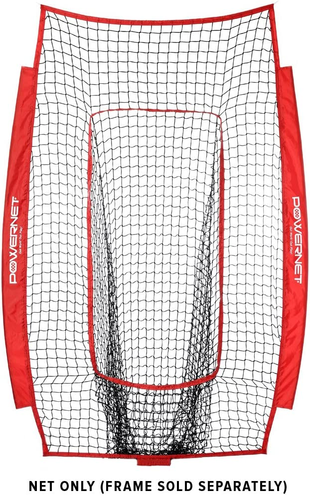 PowerNet Infielder Training Net for Baseball Softball Drills NET ONLY Replacement Team Color Heavy Duty Knotless Durable PU Coated Polyester Double Stitched Seams for Extra Strength RED