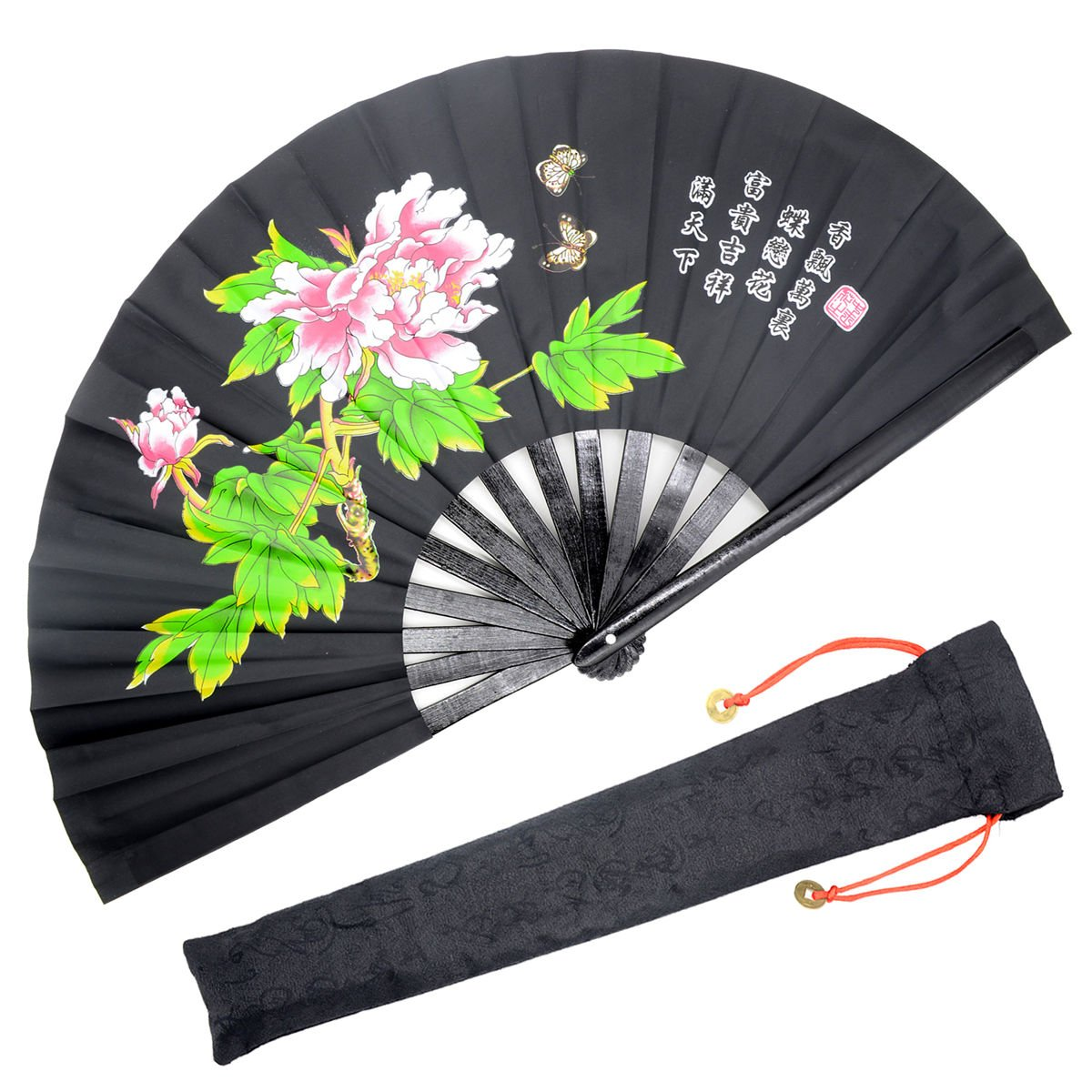 OMyTea Bamboo Large Rave Folding Hand Fan for Men/Women - Chinese Japanese Kung Fu Tai Chi Handheld Fan with Fabric Case - for Performance, Decorations, Dancing, Festival, Gift (Black Peony)