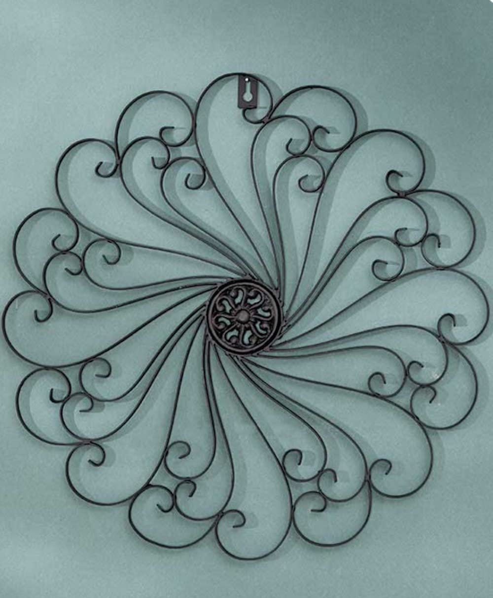 Black Antiqued Finish Iron Wall Medallions Metal Display Hangs Indoors or Porch or Patio Wall Art Decor Home Decorations
