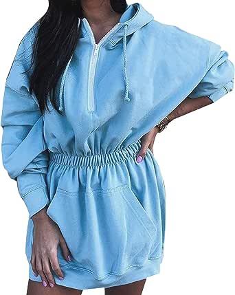 Sudadera Larga para Mujeres con Capucha Tallas Grandes para Casual Invierno Vestidos Sudadera con Bolsillo Grande Hoodie
