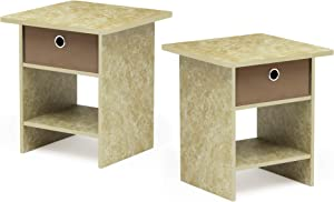 FURINNO Bin Drawer Storage 2-Pack End Table Nightstand, Faux Marble/Brown