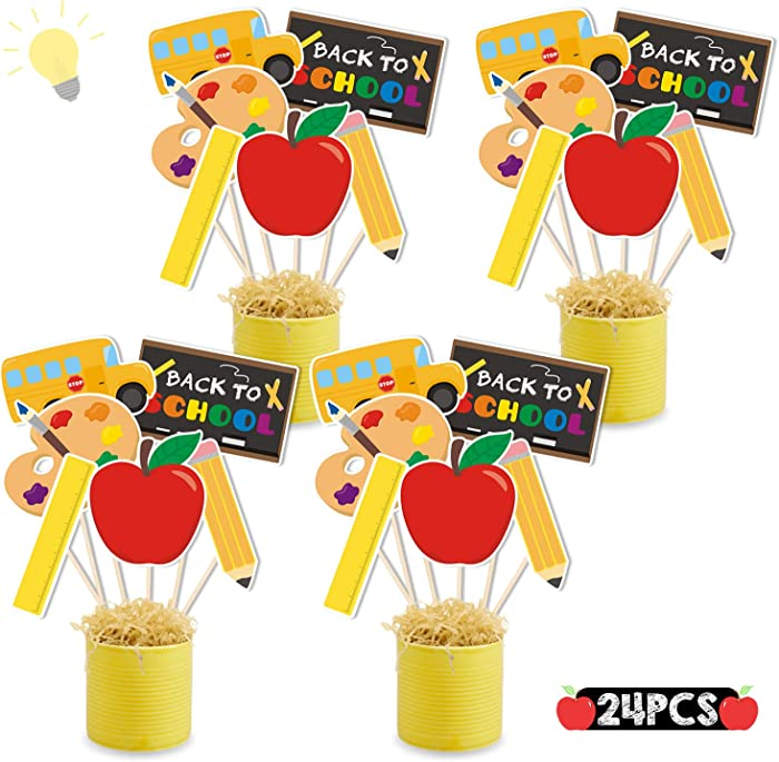 24Pack Back to School Party Centerpiece Sticks Table Toppers, Back to School Party Decorations, First Day of School Party Favor Supplies Classroom Decor