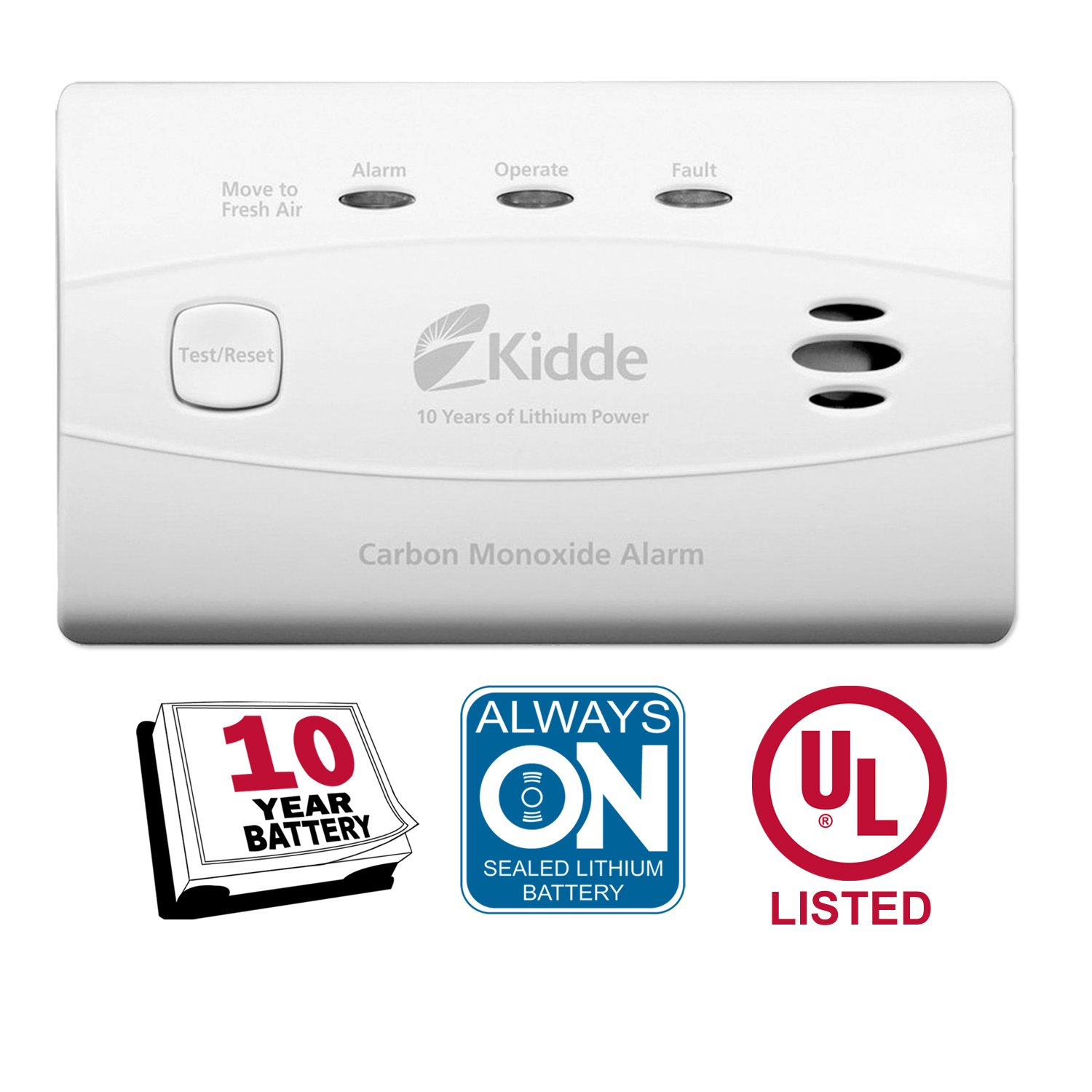 Kidde Worry-Free Carbon Monoxide Detector Alarm with 10 Year Sealed Battery Model C3010