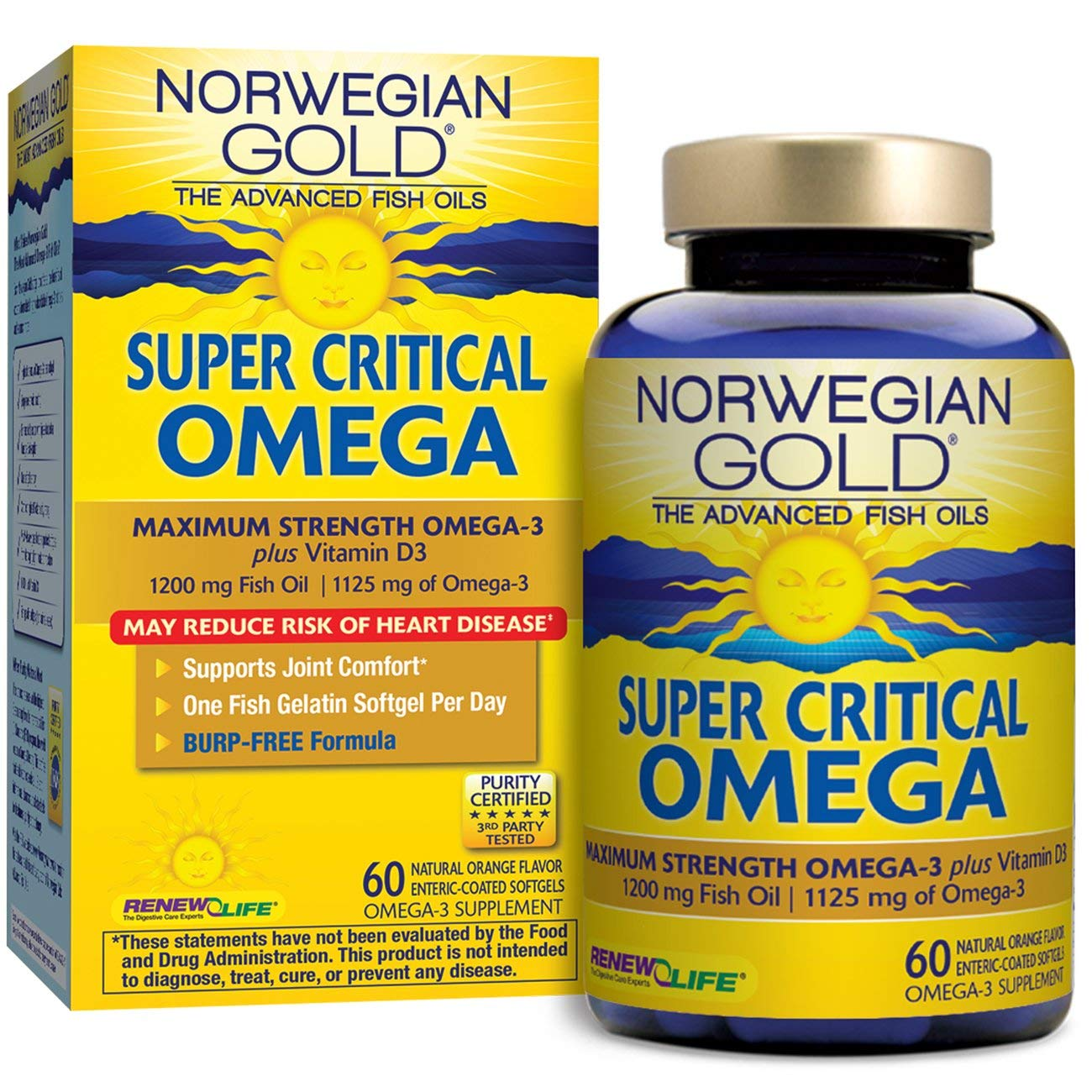 Renew Life Norwegian Gold Adult Fish Oil - Super Critical Omega, Fish Oil Omega 3 Supplement - 60 Burp-Free Softgel Capsules (Packaging May Vary)