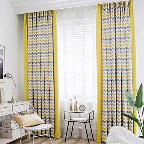 MacoHome Splicing Curtains Chevron Chenille Window Treatment