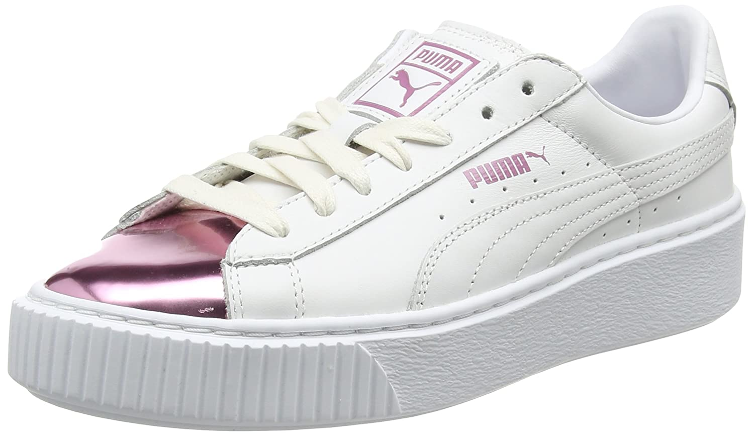 Amazon.com | PUMA Womens Basket Platform Metallic Trainers, White (White-Lilac Snow 04), 5.5 UK | Fashion Sneakers