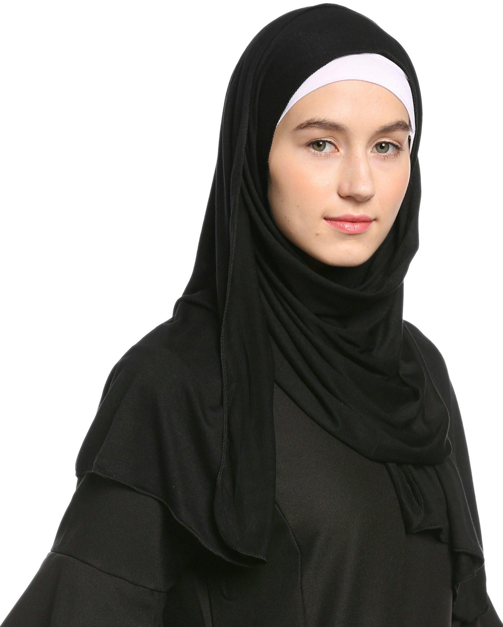 Ababalaya Fashion Womens Lightweight 100%Cotton Jersey Hijab Scarf, Black, One Size by Ababalaya (Image #5)
