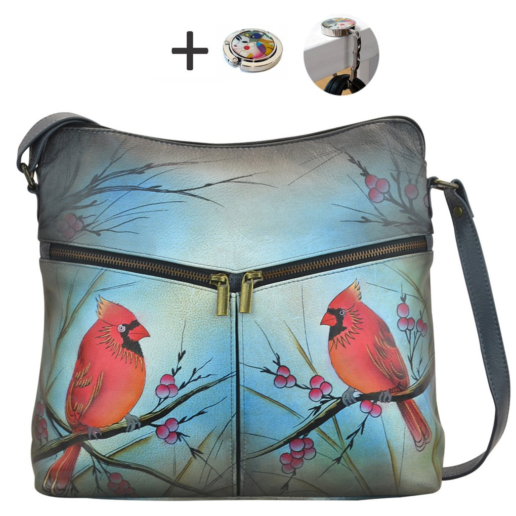 Anuschka Anna Hobo Handbag Hand Painted Design on Real Leather Purse with Purse Holder, Flap Top Northen Cardinal