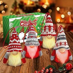 Gnome Christmas Hanging Ornaments with LED Lights, Handmade Swedish Tomte Gnomes Plush Scandinavian Santa Elf Lighted Table Home Decor Ornaments Set of 4, Christmas Tree Hanging Decoration