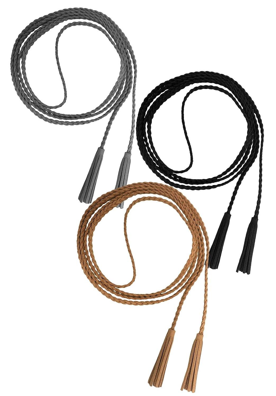 Nanxson Damen Mädchen Dekorative Gestrickte Lederbauchkette Geflochtene Gürtel mit Troddel