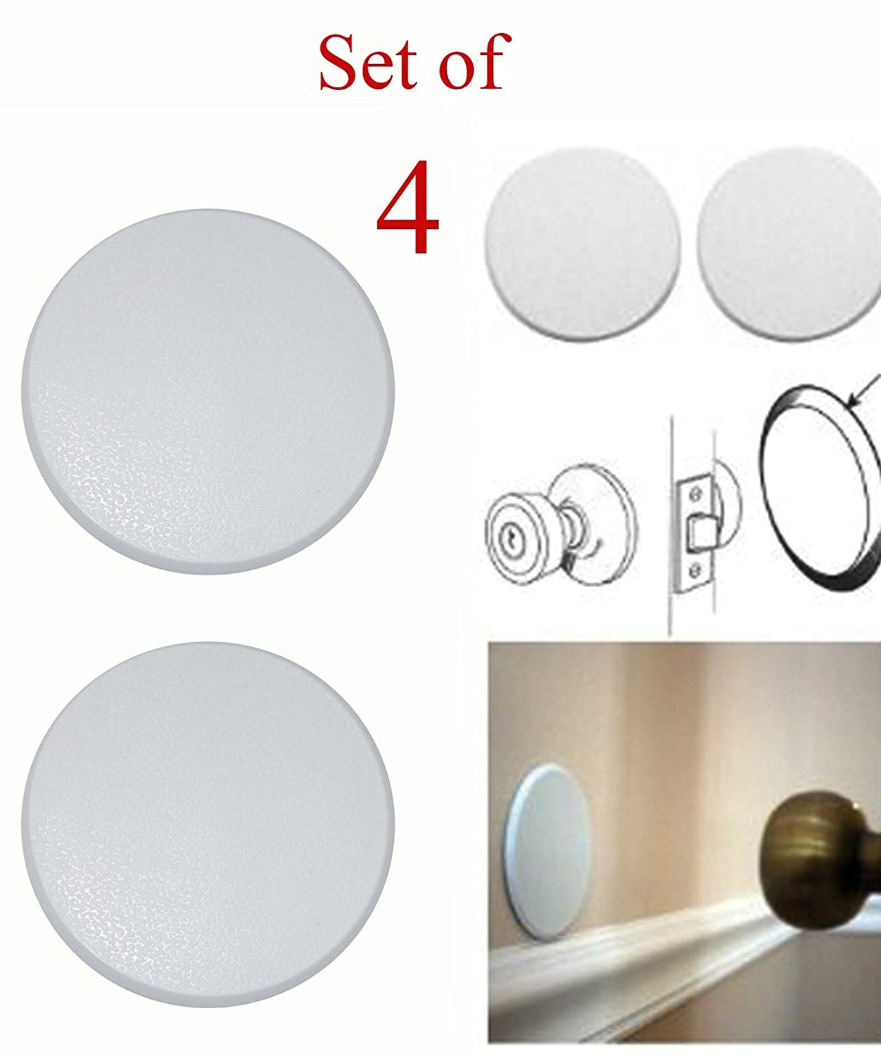(4pcs) White Door Stop Knob Handle Wall Shield, - Exceptional Wall Protection - Easy Mounting with Self-Adhesive Surface - Highly Durable!