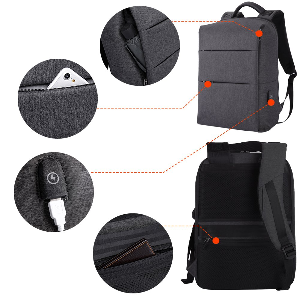 Laptop Backpack for Business Travel Backpack Fit 15 inch Outdoors Large Capacity 60 Degrees Extended with USB Charging Port Anti Theft Water Resistant Padded Straps without Shock for Men Women, Black by Nuheby (Image #8)