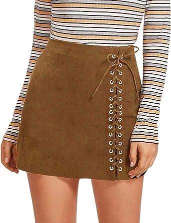 CNFIO Mujer Faldas Elegantes De Cintura Alta Slim Fit Moda Vintage ...