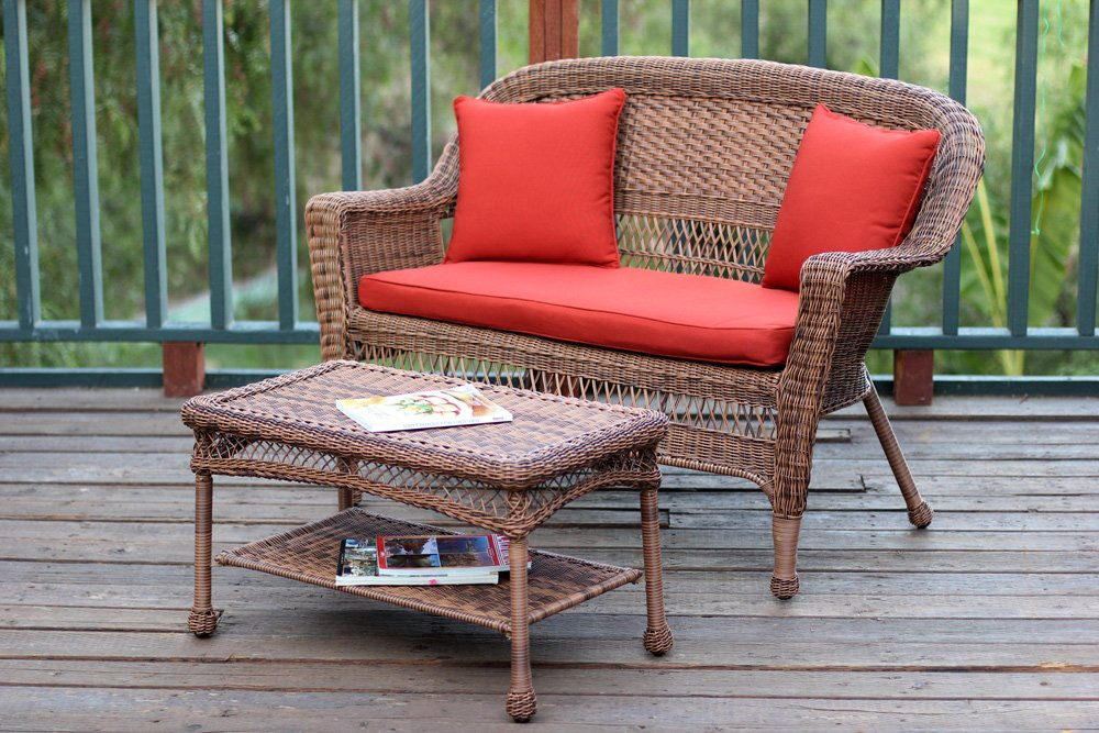 Jeco W00205-LCS018 Wicker Patio Love Seat and Coffee Table Set with Red Orange Cushion, Honey